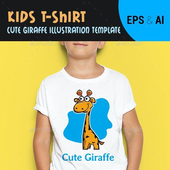 Kids T-Shirt Cute Giraffe illustration Template