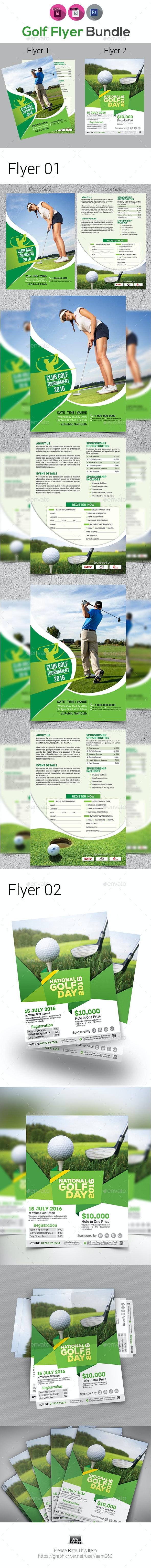 Golf Tournament Flyer Bundle Template - Sports Events