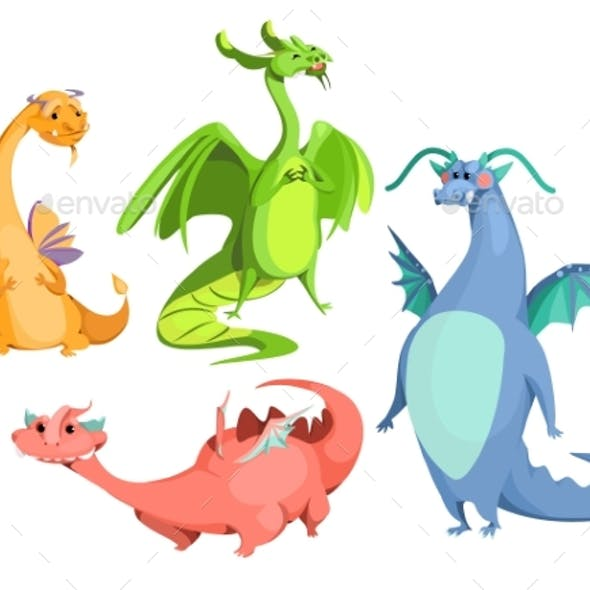 Vector Cartoon Magic Colorful Dragons Set