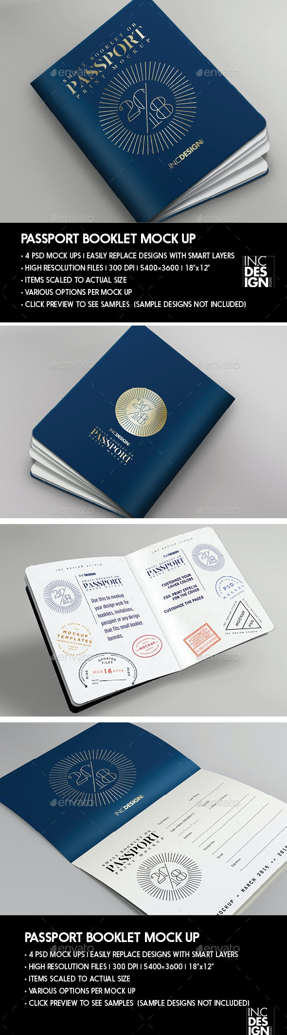 Passport | Booklet Photo Realistic Mock Up - Brochures Print