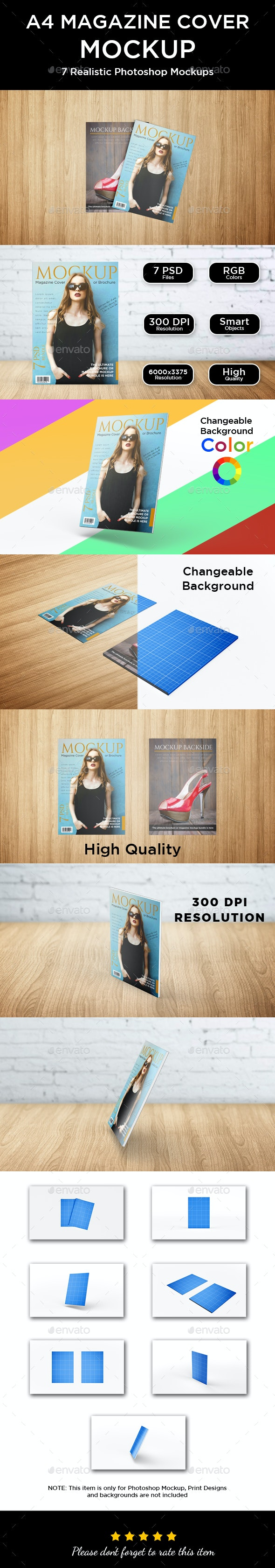 Magazine and Brochure Cover Mockup - Print Product Mock-Ups