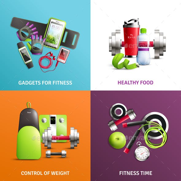 Fitness Gym Concept Icons Set