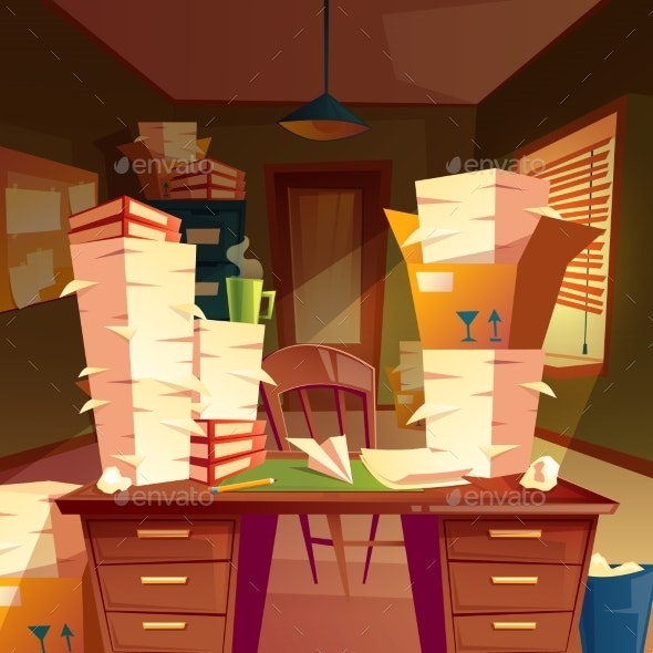Vector Empty Office with Piles of Paperwork - Miscellaneous Vectors