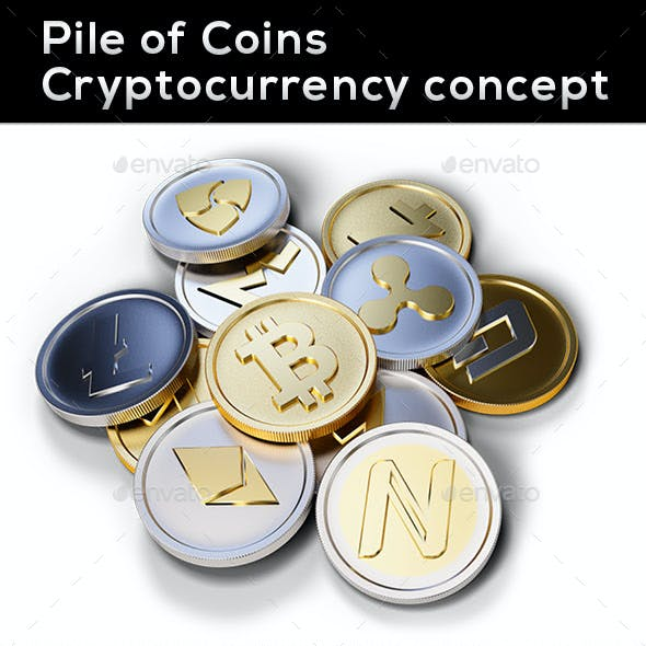 Pile of Coins, Cryptocurrency Concept 3D Render