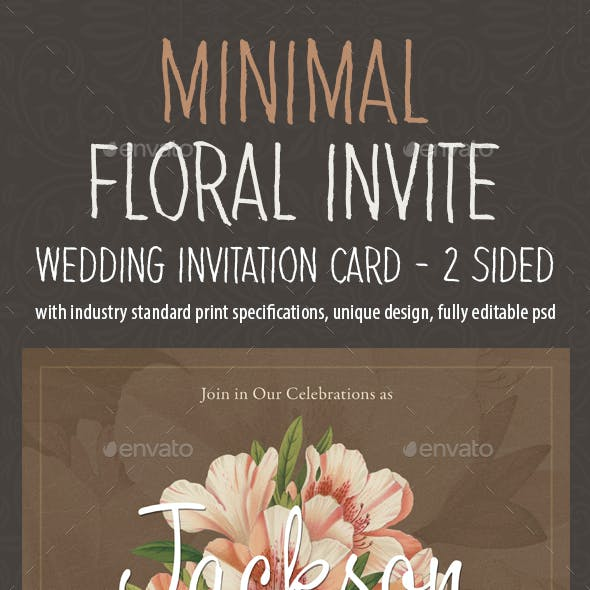 Minimal Floral Wedding Invitation