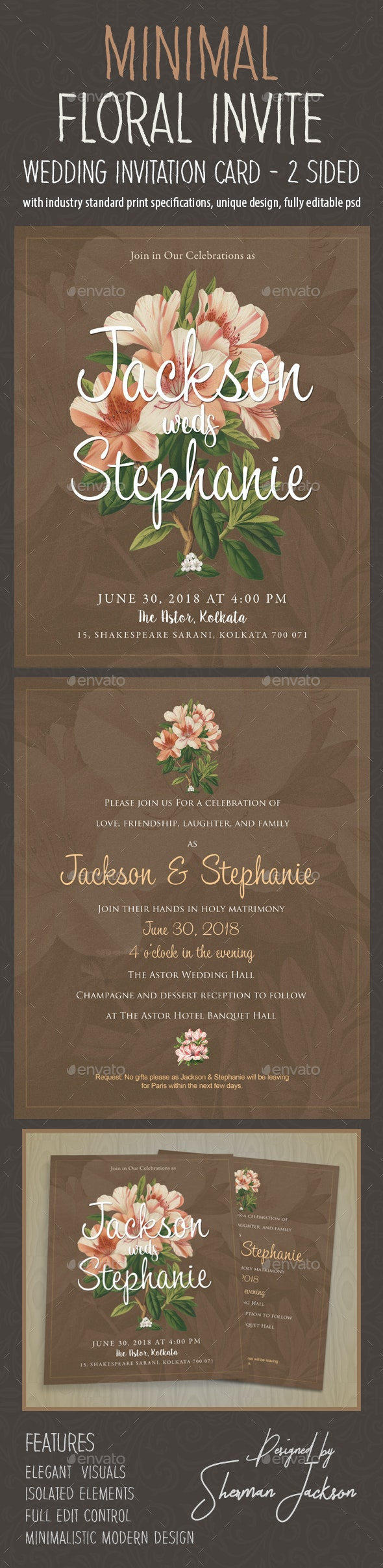 Minimal Floral Wedding Invitation - Weddings Cards & Invites