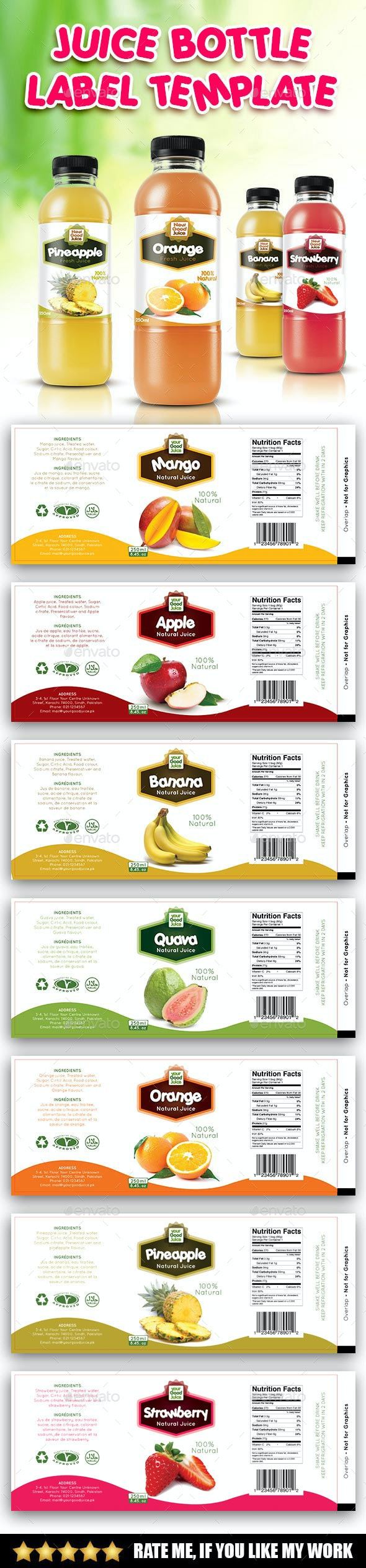 Juice Bottle Label Template - Packaging Print Templates
