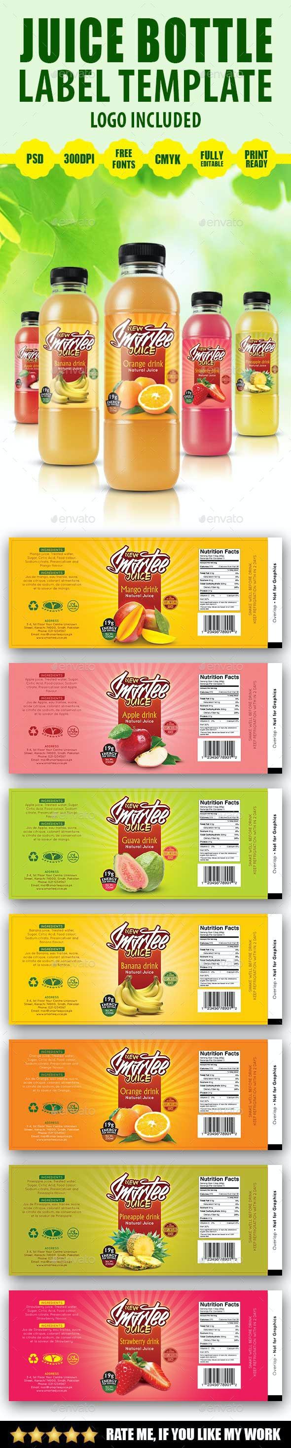 Juice Bottle Label Template V2 - Print Templates