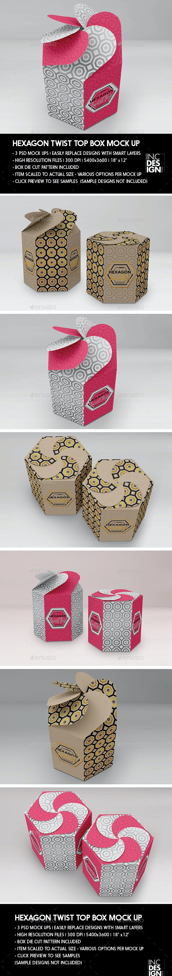 Hexagon Twist Top Candy Gift Box Packaging Mock Ups - Packaging Product Mock-Ups