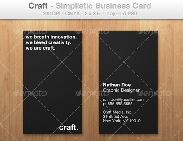 Craft - Simplistic Business Card for Professionals - Corporate Business Cards