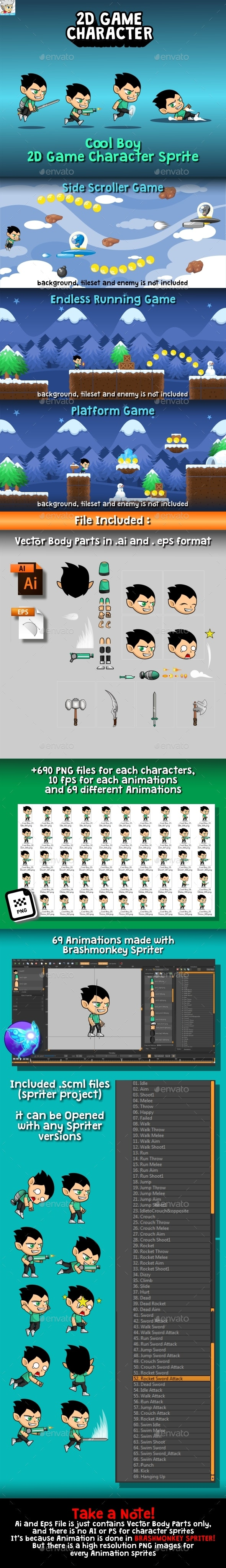 Cool Boy 2D Game Character Sprite - Sprites Game Assets