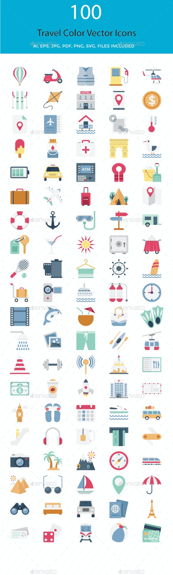 100 Travel Color Vector Icons Set - Icons