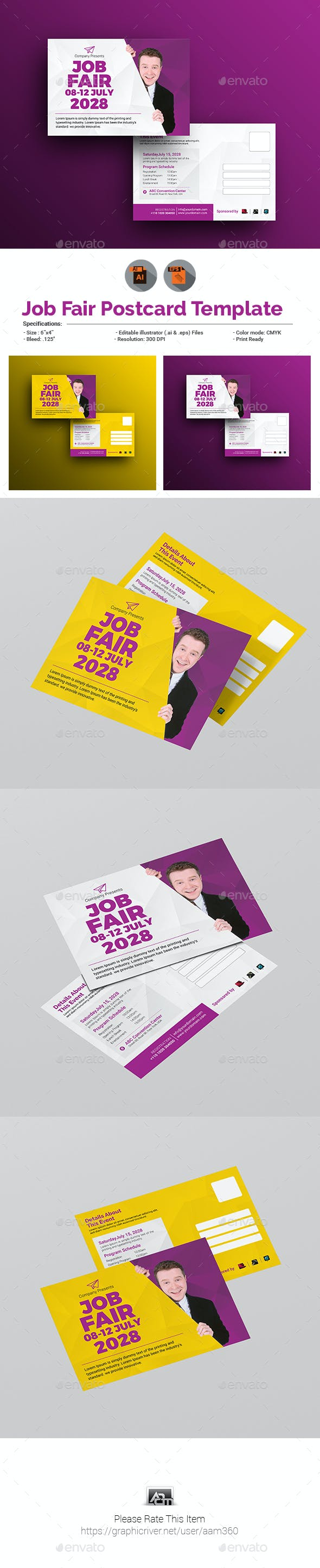 Job Fair Postcard Template