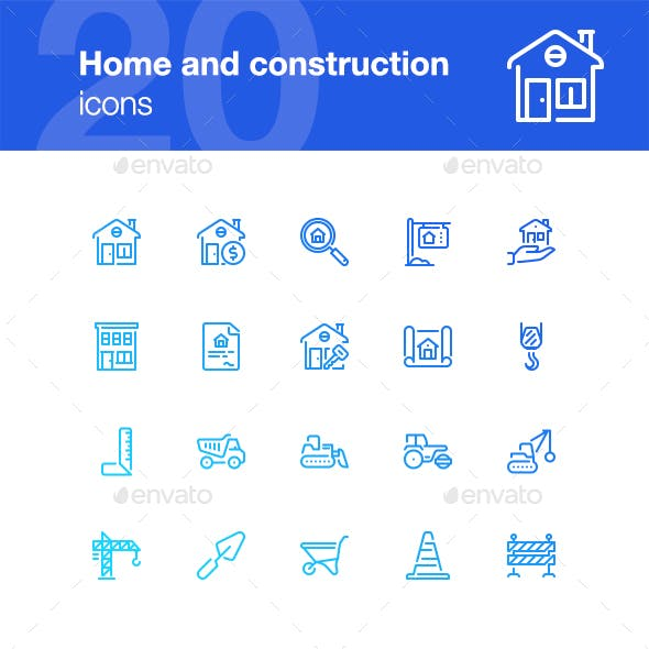 20 Home and construction icons