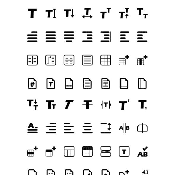 56 Text Editing Icons - Black & White