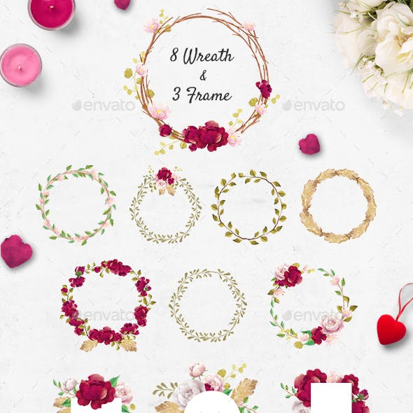 Watercolor Flower Wreaths and Frames