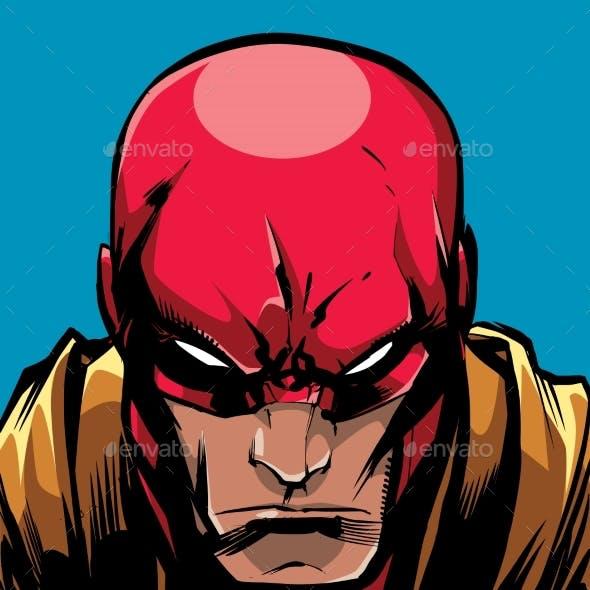 Superhero Portrait Line Art 2