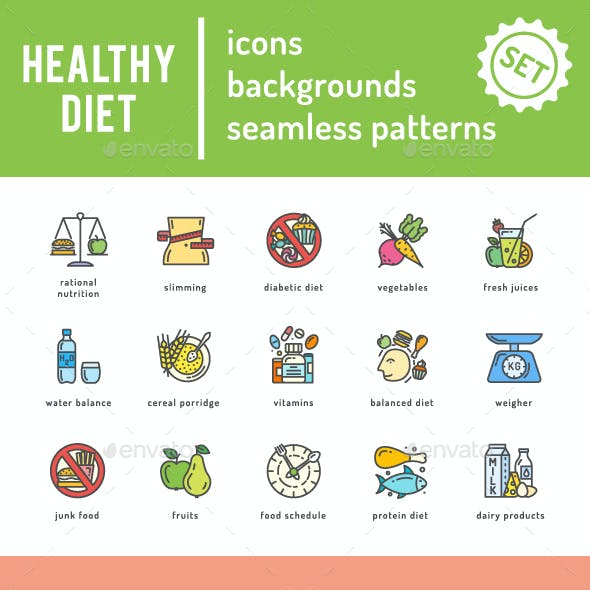 Healthy Diet Icons Set
