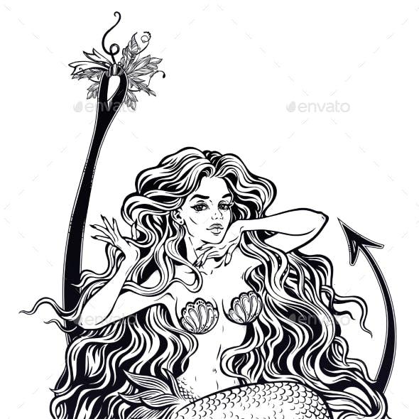 Mermaid Girl Sitting on Fishing Hook Artwork
