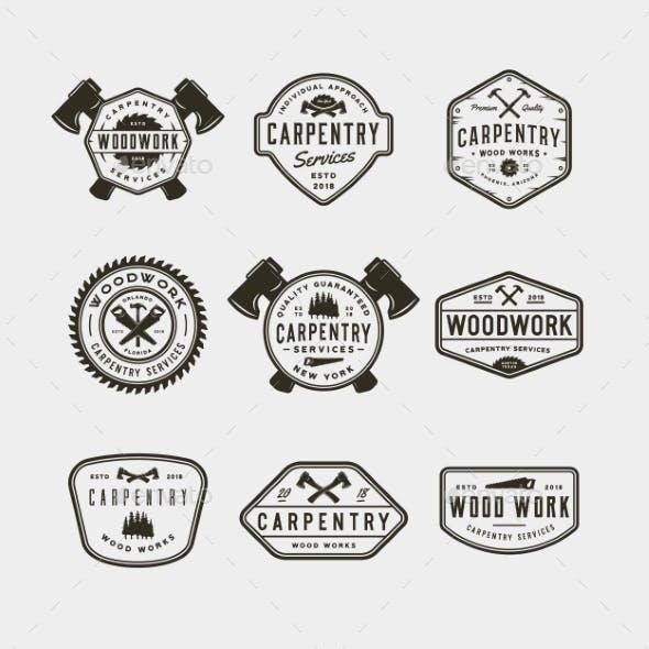 Set of Vintage Carpentry Emblems