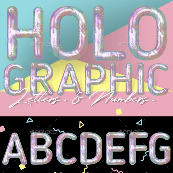 Modern Liquid Marble Holographic 3D Typeface