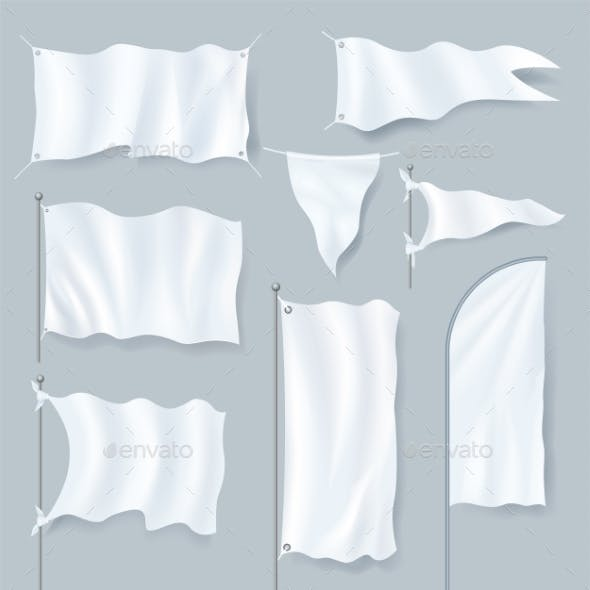 Realistic Textile Banner and Flag Set