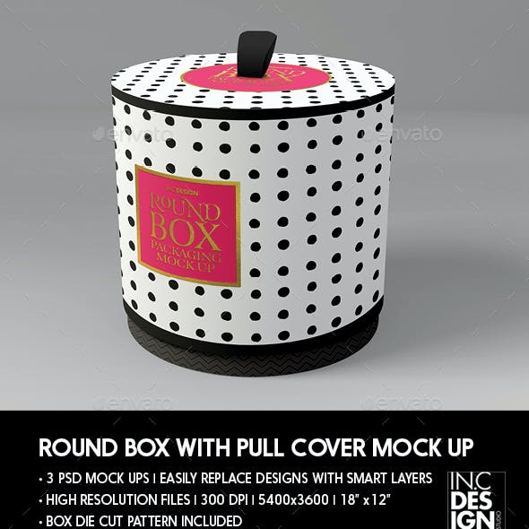 Packaging Mock Up Round Box with Pull up Cover
