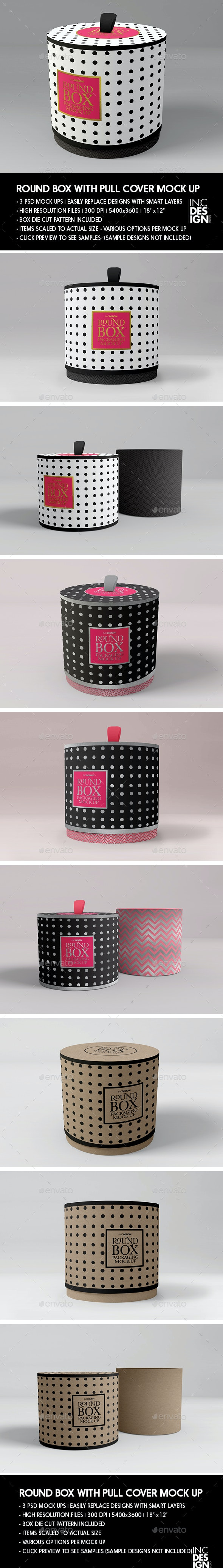 Packaging Mock Up Round Box with Pull up Cover - Product Mock-Ups Graphics