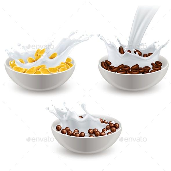 Realistic Breakfast Cereals Milk Set