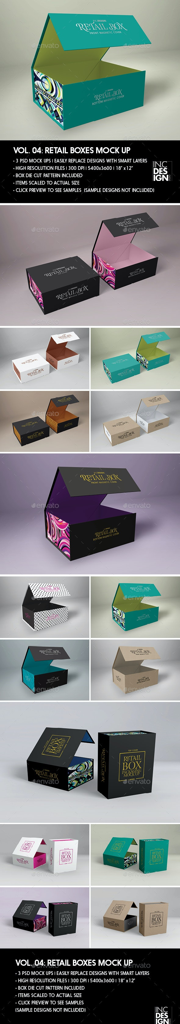 Retail Boxes Vol 4 Magnetic Box Packaging Mock Ups By Ina717