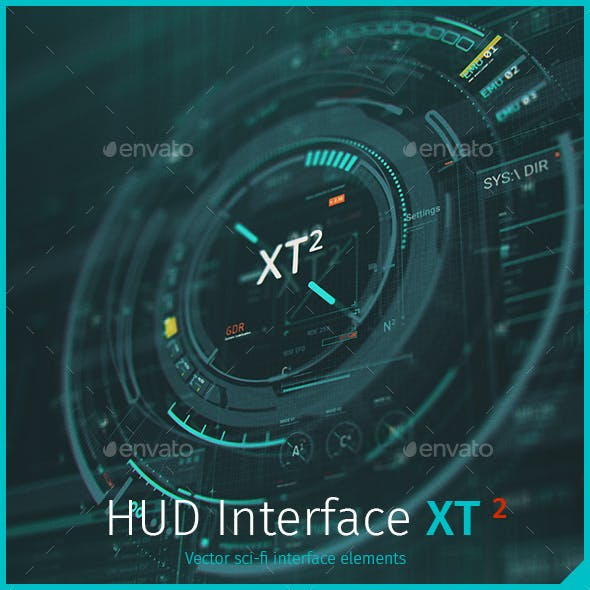 Futuristic HUD Interface XT2: Sci-Fi UI Elements
