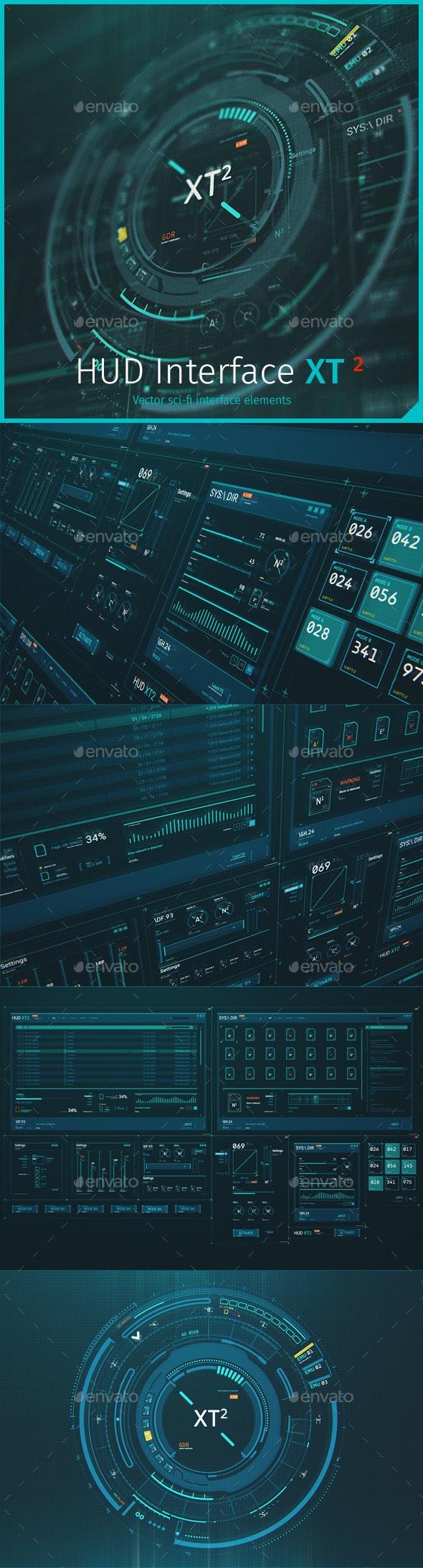 Futuristic HUD Interface XT2: Sci-Fi UI Elements - User Interfaces Web Elements