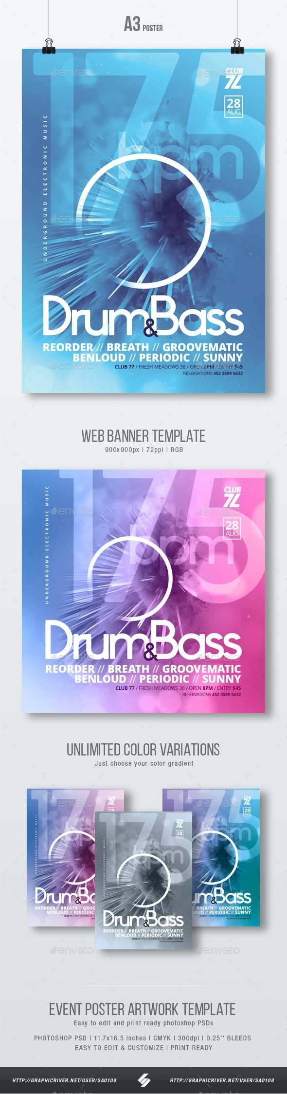 175 bpm - Drum and Bass Party Flyer / Poster Template A3 - Clubs & Parties Events