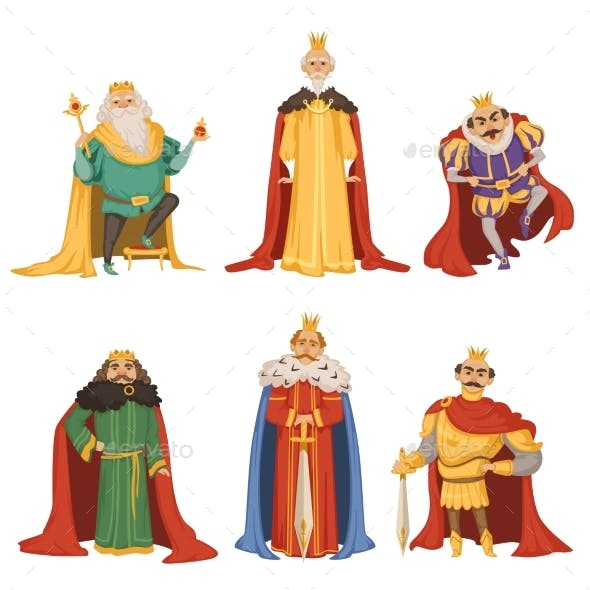 Cartoon Characters of Kings in Different Poses
