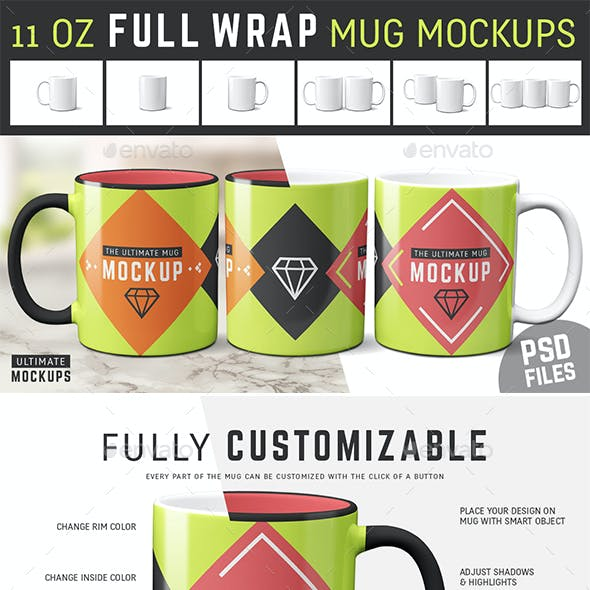 11 oz Full Wrap Mug Mockup Templates