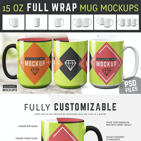 15 oz Full Wrap Mug Mockup Templates