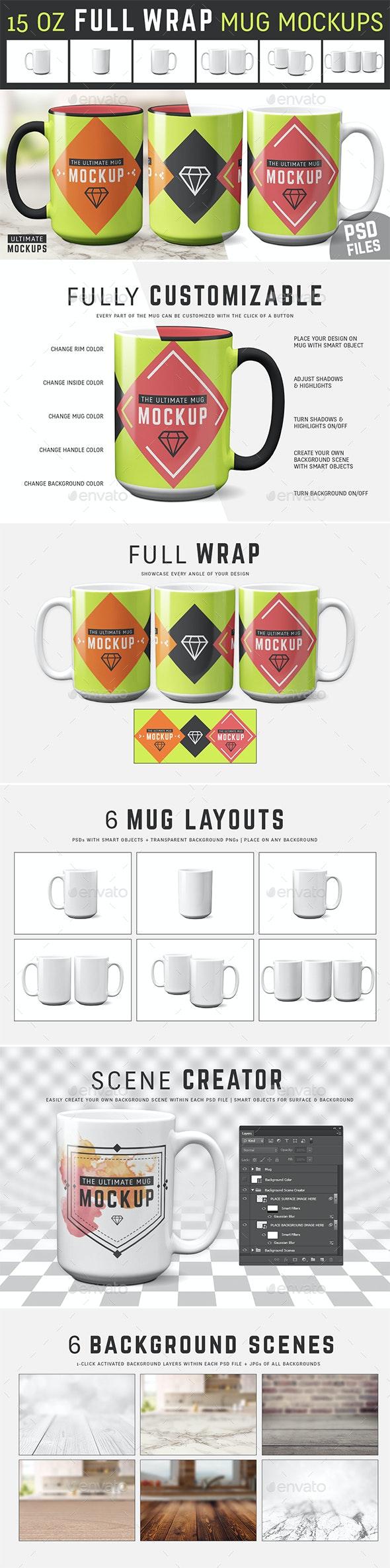 15 oz Full Wrap Mug Mockup Templates - Food and Drink Packaging