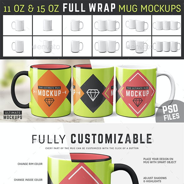 11 oz & 15 oz Full Wrap Mug Mockup Templates