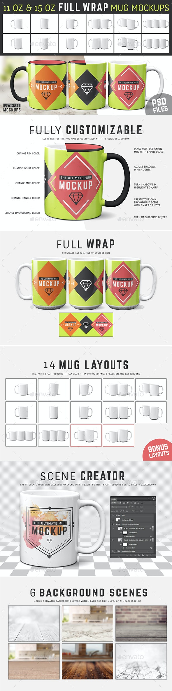 11 oz & 15 oz Full Wrap Mug Mockup Templates - Food and Drink Packaging