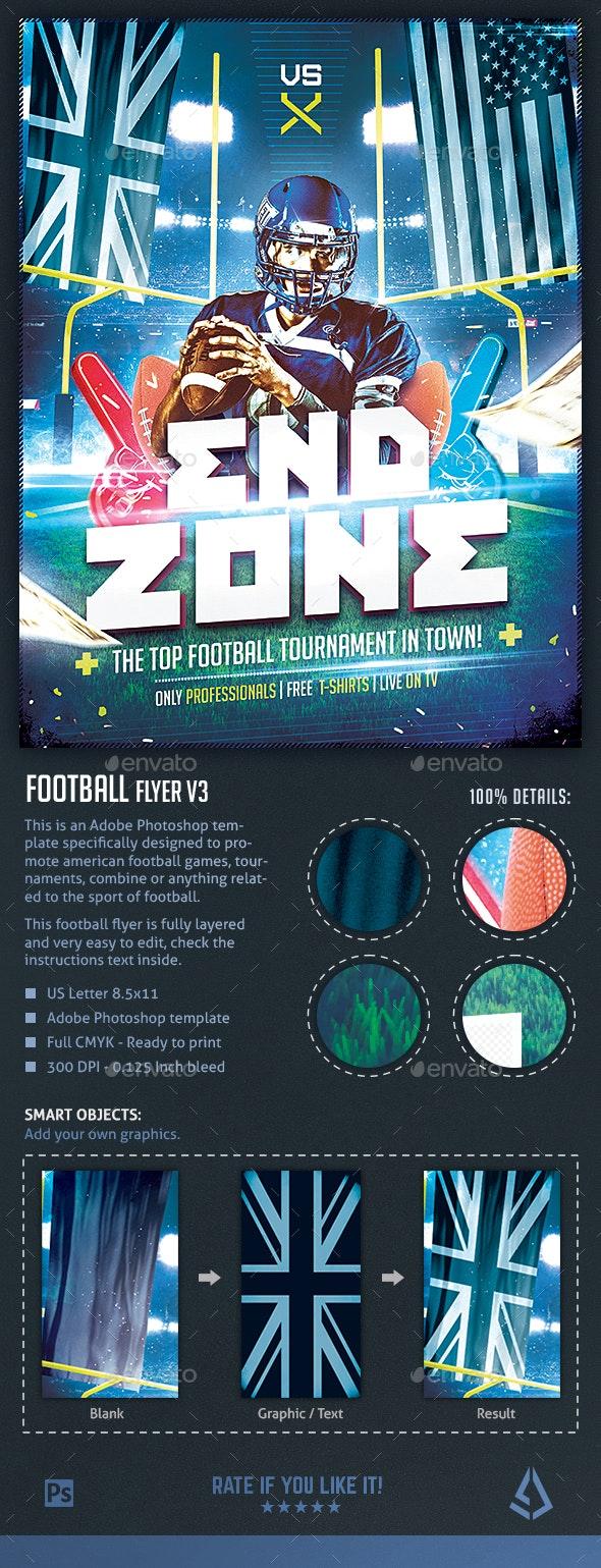 Football Flyer v3 - American Football Night Design Template - Sports Events
