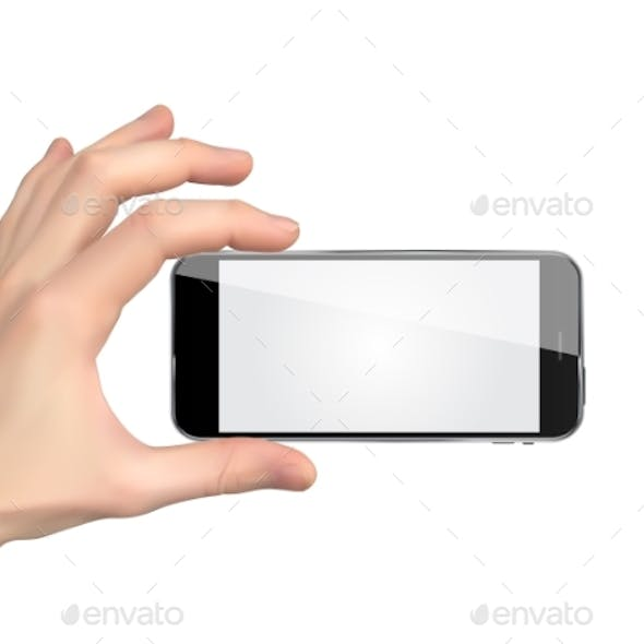 Realistic Hand Holding Mobile Phone Isolated