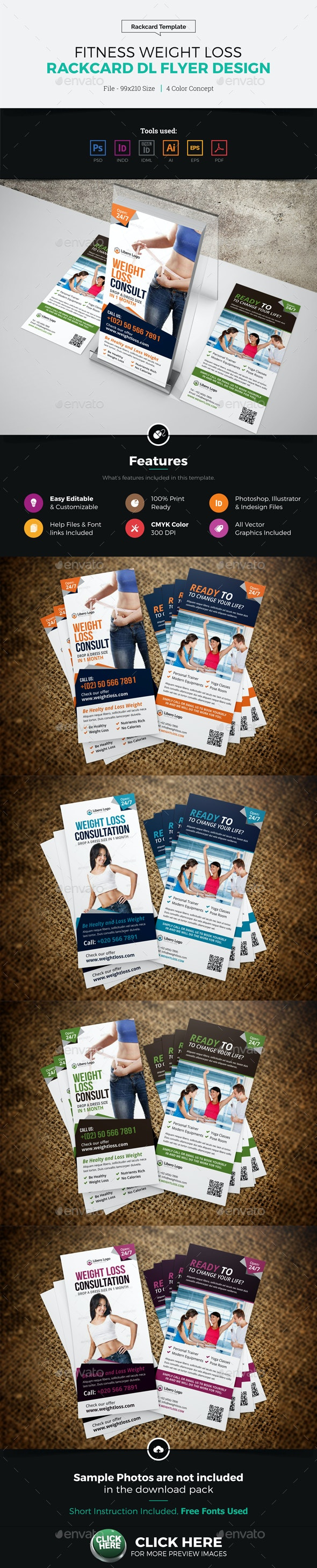 Fitness Weight Loss Rackcard DL Flyer Design - Corporate Flyers