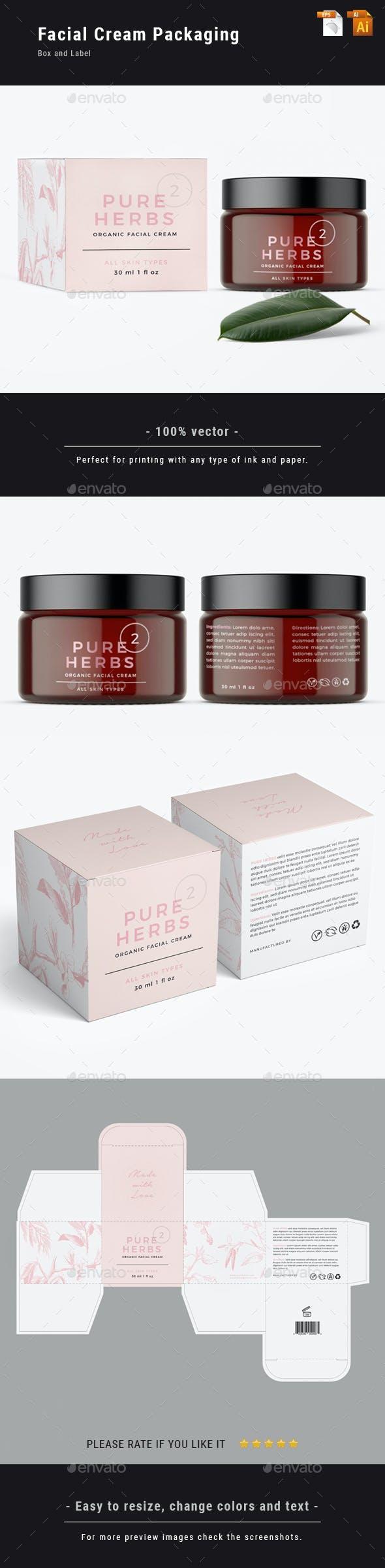 Organic Facial Cream - Label and Box