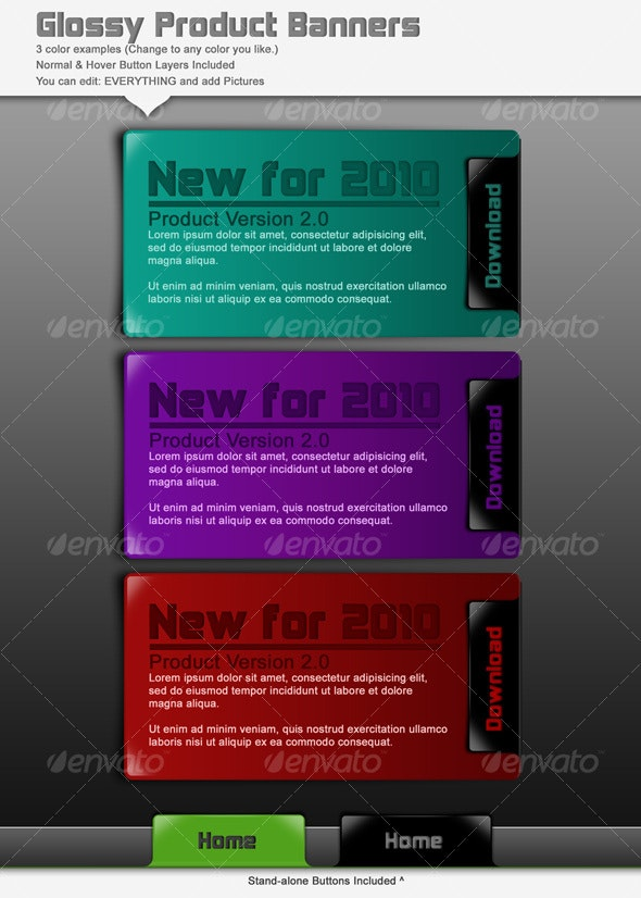Glossy Product Banners - Web Elements