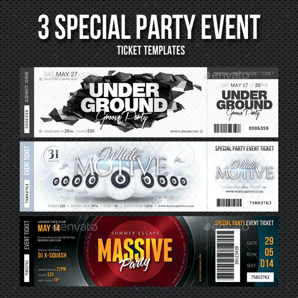 3 in 1 Special Party Event Ticket Bundle V05