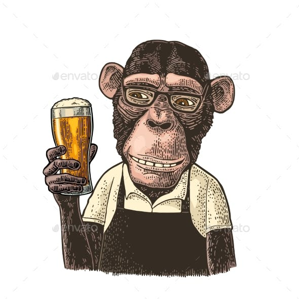 Monkeys Dressed in Apron Holding Glass of Beer