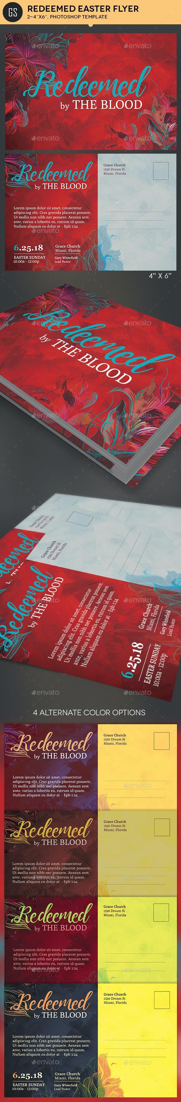 Redeemed Easter Postcard Template - Church Flyers