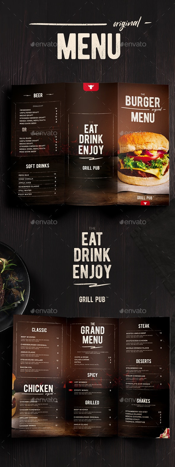 Burger Menu Trifold - Food Menus Print Templates