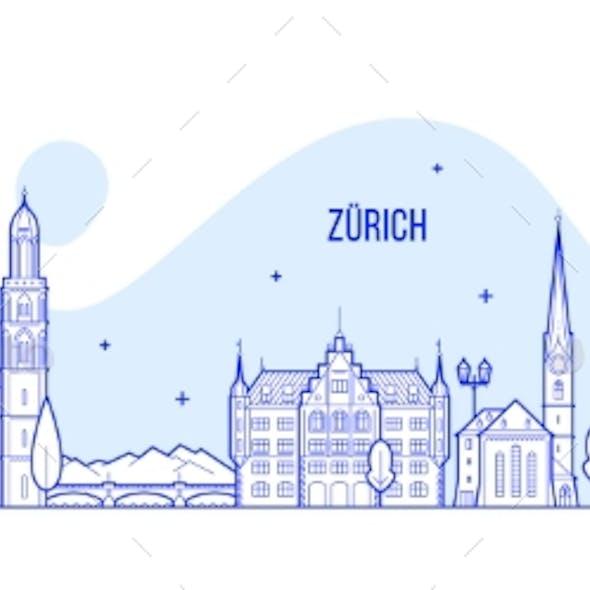 Zurich Skyline Switzerland City Buildings Vector
