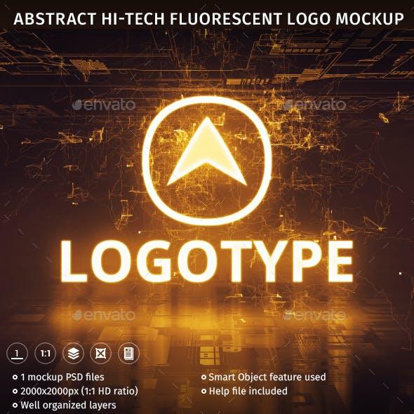 Abstract Hi-Tech Fluorescent Logo Mockup